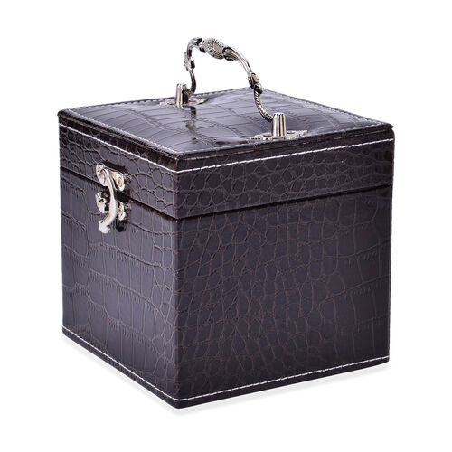 Dark Coffee Colour Croc Embossed 3 Layer Jewellery Box with Mirror inside (Size 12x12x12 Cm)