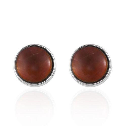 Canadian Ammolite (Rnd) Stud Earrings in Platinum Overlay Sterling Silver 2.400 Ct.