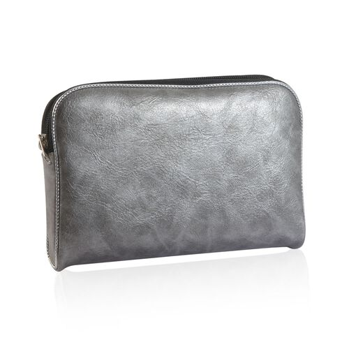 Set of 6 - Faux Leather Silver Colour Jewellery Pouch