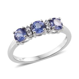 9K White Gold 1.10 Carat AA Tanzanite Ring with Natural Cambodian Zircon