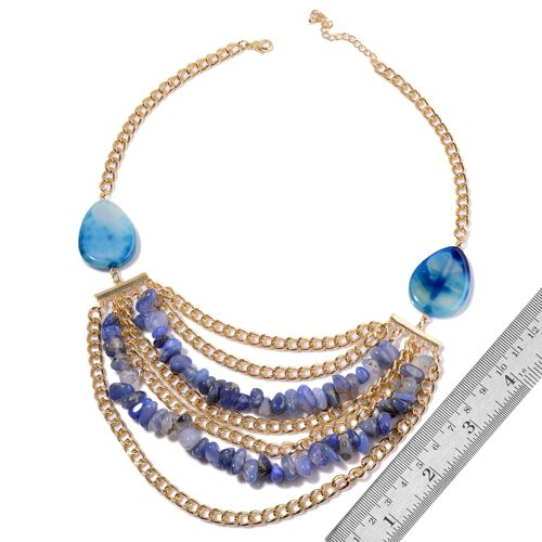 Dyed Blue Agate Necklace (Size 20 with Extender) in Gold Tone 400.000 Ct.