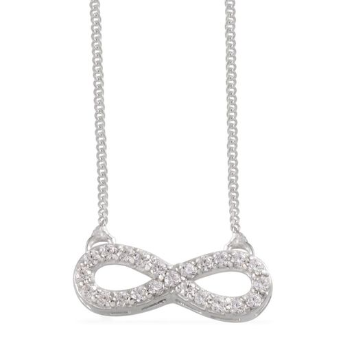 J Francis - Platinum Overlay Stainless Steel (Rnd) Infinity Necklace Made With SWAROVSKI ZIRCONIA