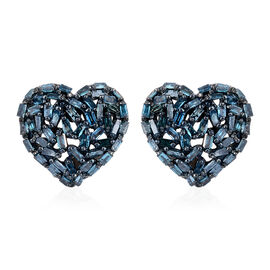 GP Blue Diamond (Bgt), Kanchanaburi Blue Sapphire Heart Stud Earrings (with Push Back) in Black Rhodium and Platinum Overlay Sterling Silver 0.540 Ct.