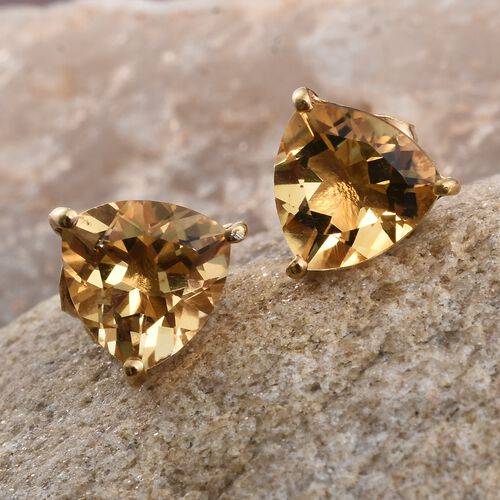 Citrine (Trl) Stud Earrings (with Push Back) in 14K Gold Overlay Sterling Silver 2.250 Ct.