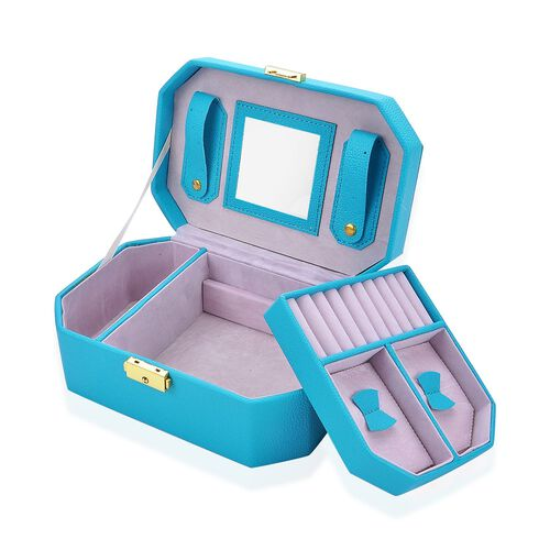 Turquoise Colour Two Tier Jewellery Box With Mirror Inside (Size  22.5x15x9 Cm)