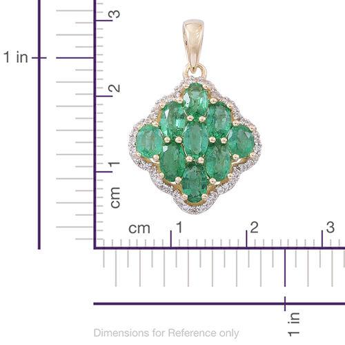 Designer Inspired- 9K Yellow Gold AA Kagem Zambian Emerald (Ovl), White Zircon Pendant 3.250 Ct.
