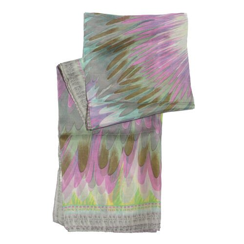 100% Mulberry Silk Green, Pink and Multi Colour Abstract Pattern Grey Colour Scarf (Size 180x100 Cm)