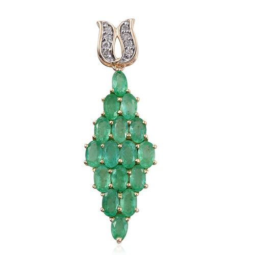 9K Y Gold  Boyaca Colombian Emerald (Ovl), Diamond Pendant 4.000 Ct.