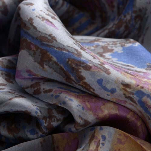 100% Mulberry Silk Blue and Multi Colour Leopard Pattern Pareo (Size 180x100 Cm)