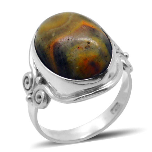Royal Bali Collection Bumble Bee Jasper (Ovl) Solitaire Ring in Sterling Silver 9.590 Ct.