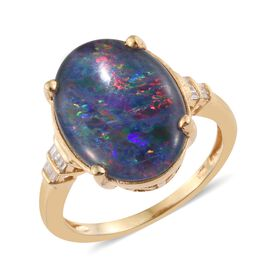 Rare Size Australian Boulder Opal (Ovl 18X13 mm), Diamond Ring in 14K Gold Overlay Sterling Silver 6.250 Ct.