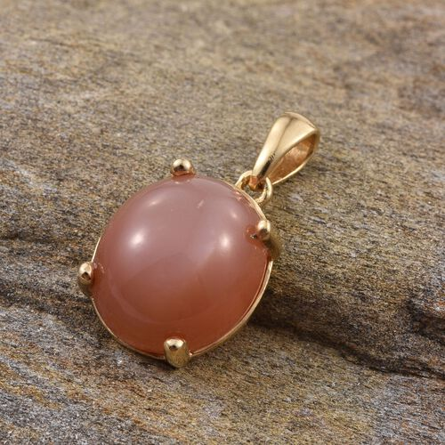 Peach Moonstone (Ovl) Solitaire Pendant in 14K Gold Overlay Sterling Silver 8.500 Ct.