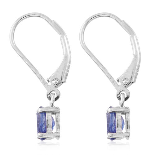 One Time Deal-Masoala Sapphire (Ovl) Lever Back Earrings in Rhodium Plated Sterling Silver 1.250 Ct.