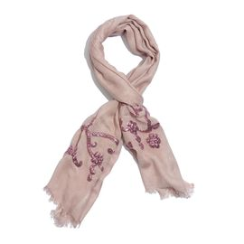 Pink Colour Sequins Embroidered Beige Colour Scarf (Size 180x70 Cm)