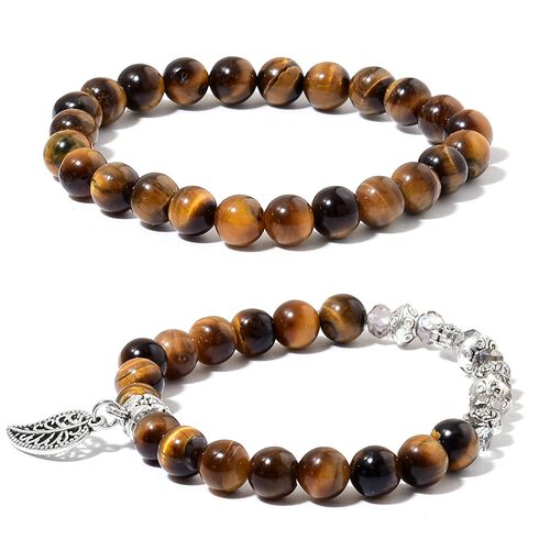 Tigers Eye and Grey Crystal Beads Leaf Charm Stretchable Bracelet (Size 7.5) and Pendant With Chain (Size 24)