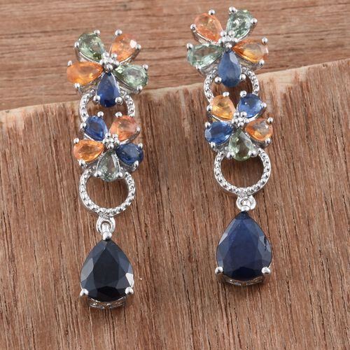 Kanchanaburi Blue Sapphire (Pear), Green Sapphire, Orange Sapphire Earrings (with Push Back) in Platinum Overlay Sterling Silver 8.000 Ct.