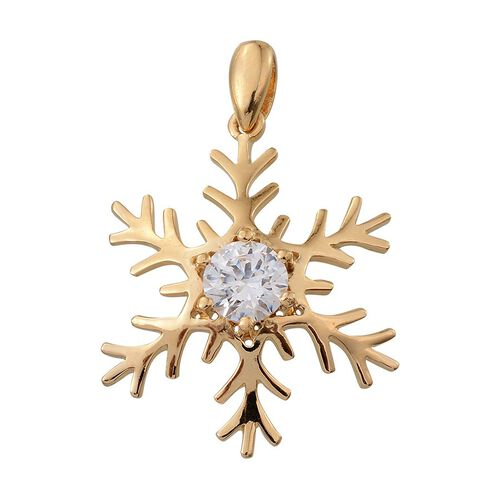 J Francis - 14K Gold Overlay Sterling Silver (Rnd) Snowflake Pendant Made with SWAROVSKI ZIRCONIA