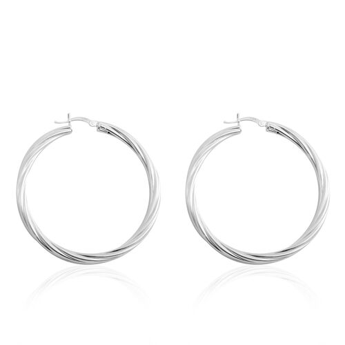 Sterling Silver Swirl Hoop Earrings (with Clasp), Silver wt 6.70 Gms.