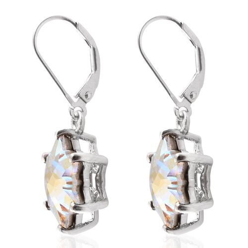 STELLARIS CUT J Francis Crystal from Swarovski - AB Colour Crystal Lever Back Earrings in Platinum Overlay Sterling Silver