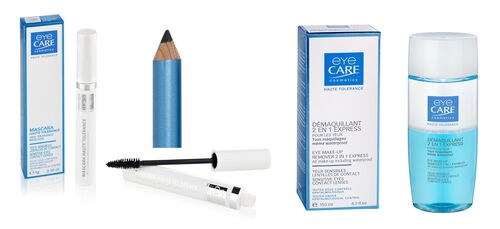 Eyecare Cosmetics- High tolerance macara black, eyeliner pencil black, 2 in 1 express eye makeup remover
