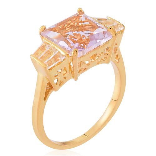 Rose De France Amethyst (Sqr 4.50 Ct), White Topaz Ring in 14K Gold Overlay Sterling Silver 5.250 Ct.