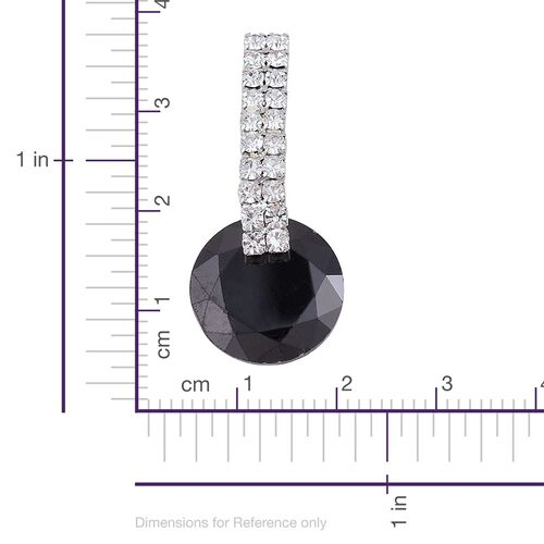 AAA Simulated Black Diamond and White Austrian Crystal Earrings (with Push Back) in Silver Plating