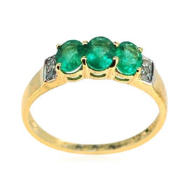 9K Y Gold Kagem Zambian Emerald (Ovl), Diamond Ring 1.050 Ct.