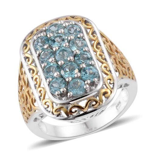 Paraiba Apatite (Rnd) Ring in Platinum and Yellow Gold Overlay Sterling Silver 2.500 Ct. Silver wt 6.06 Gms.