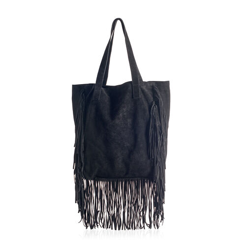 ( LIMITED COLLECTION ) Genuine Leather Black Colour Tote Bag with Long Fringes (Size 36x30.5x12.75 Cm)
