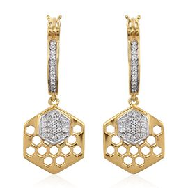 0.50 Carat Natural Cambodian Zircon Honeycomb Hoop Earrings in Gold and Platinum Plated Silver 6 Gms (with Clasp)