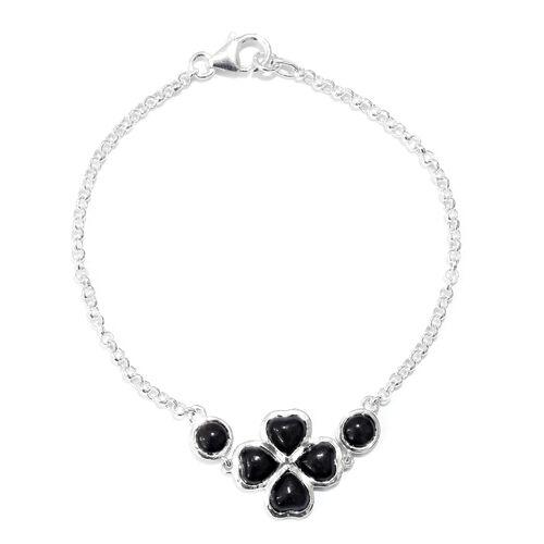 Burmese Black Jade (Hrt) Clover Bracelet (Size 7.5) in Sterling Silver 5.250 Ct.