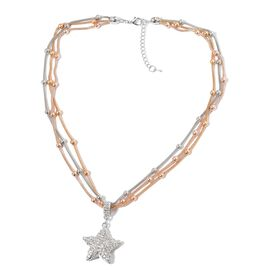 AAA White Austrian Crystal Triple Strand Beads Necklace (Size 21 with 2 inch Extender) with Star Pendant in Tricolour Tone