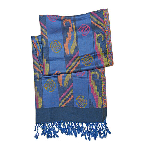 Designer Inspired-Blue, Pink, Yellow and Multi Colour Scarf with Fringes (Size 180x70 Cm)