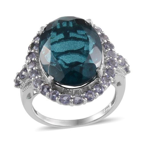 Indicolite Quartz (Ovl 14.25 Ct), Iolite Ring in Platinum Overlay Sterling Silver 15.500 Ct.