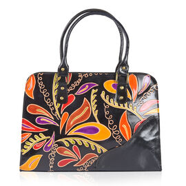 100% Genuine Leather Orange, Black and Multi Colour Hand Painted Floral Pattern RFID Shoulder Bag (Size 35.5X27X8 Cm)