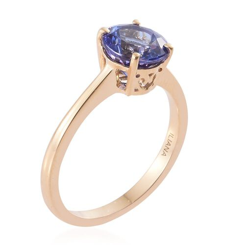 ILIANA 18K Yellow Gold 2 Carat AAA Tanzanite Solitaire Ring Size O