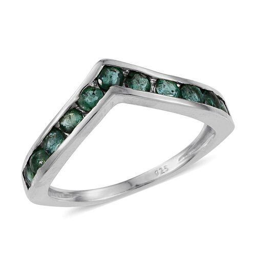 Brazilian Emerald (Rnd) Wishbone Ring in Platinum Overlay Sterling Silver 1.000 Ct.