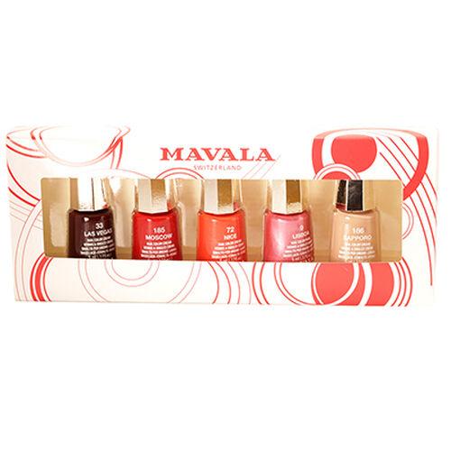Mavala - Set of 5 Classic Nail Polish 5ml- Las Vegas 033, Moscow 185, Nice 072, Lisboa 009, Sapporo 186