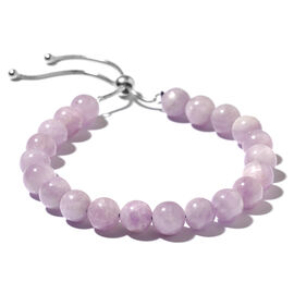 Rare Size Kunzite (Rnd) Adjustable Beads Bracelet (Size 6.5 to 8.5) in Rhodium Plated Sterling Silver 93.000 Ct.