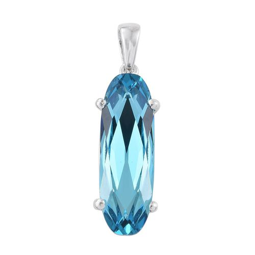 J Francis Crystal from Swarovski - Light Turquoise Crystal (Ovl) Solitaire Pendant in Platinum Overlay Sterling Silver