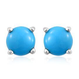 RHAPSODY 950 Platinum AAAA Arizona Sleeping Beauty Turquoise (Rnd) Stud Earrings (with Screw Back) 1.000 Ct.