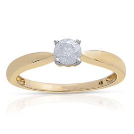 9K Yellow Gold 0.50 Carat SGL Cerfified Diamond I3/G-H Solitaire Ring