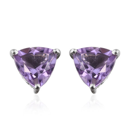 AA Rose De France Amethyst (Trl) Stud Earrings (with Push Back) in Platinum Overlay Sterling Silver 3.000 Ct.