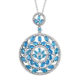 AA Malgache Neon Apatite (Mrq), Natural Cambodian Zircon Pendant with Chain in Platinum Overlay Sterling Silver 5.250 Ct. Silver wt 7.17 Gms. Number of Gemstone 161