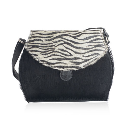 Stella Genuine Leather Zebra Pattern Black and White Colour Shoulder Bag (Size 27x20 Cm)