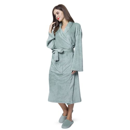 Supersoft Short Pile Microflannel Green Colour Bath Robe (Free Size) and Slippers