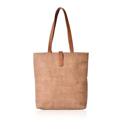 Chocolate Colour Tote Bag with Tassels (Size 34x28x10 Cm)