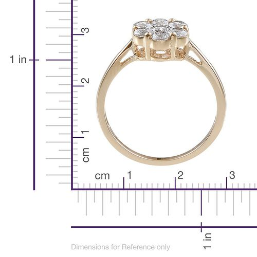 9K Y Gold (Rnd) 7 Stone Floral Ring Made With SWAROVSKI ZIRCONIA 1.270 Ct.
