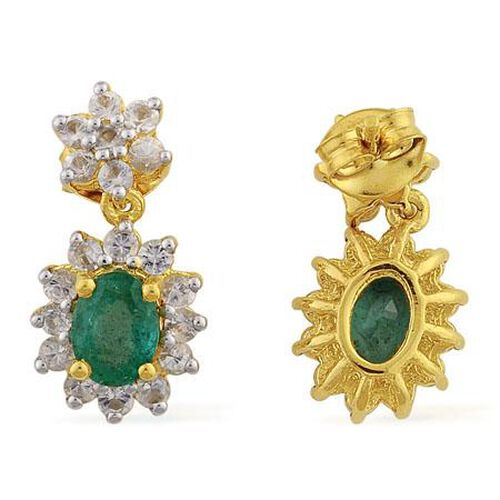 Kagem Zambian Emerald (1.25 Ct),White Topaz 14K Gold Overlay Sterling Silver Earring  2.700  Ct.
