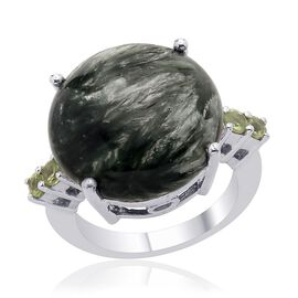 Siberian Seraphinite (Rnd 12.50 Ct), Hebei Peridot Ring in Platinum Overlay Sterling Silver 13.000 Ct.